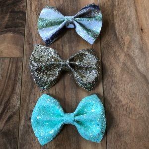 NEW! Set of 3 Handmade Glitter Hair Bows